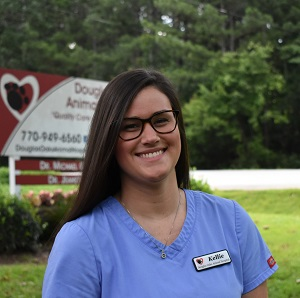 female veterinary staff member